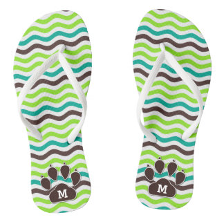 Turquoise and Green with Brown Chevron Dog Paws Flip Flops