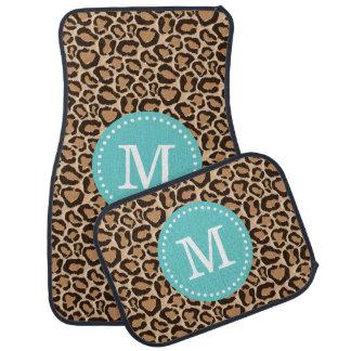 Turquoise and Leopard Print Custom Monogram Car Mat