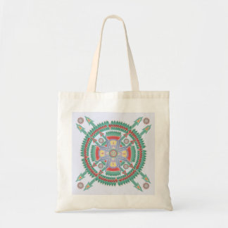 Turquoise and Melon Tribal Mandala Tote