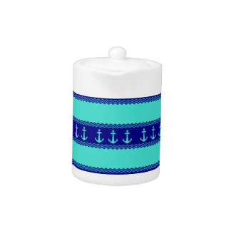 Turquoise And Navy Blue Coastal Pattern Anchors