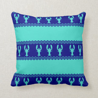 Turquoise and Navy Blue Coastal Pattern Lobster Cushion