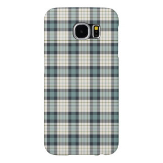 Turquoise and Navy Blue Rustic Plaid Samsung Galaxy S6 Cases