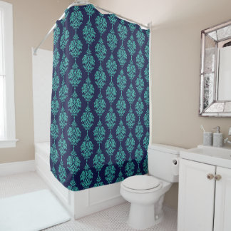 Turquoise and Navy Damask Shower Curtain