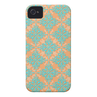Turquoise and Orange Damask Pattern iPhone 4 Cover