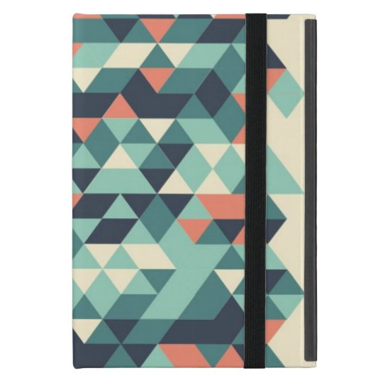 Turquoise and Orange Geometric Triangle Pattern Cover For