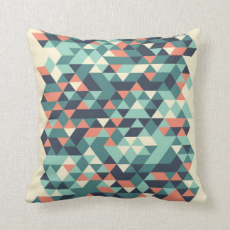 Turquoise and Orange Geometric Triangle Pattern Cushion