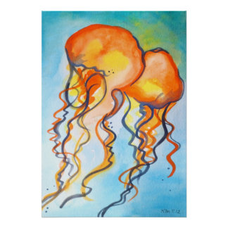 Turquoise and Orange Jellyfish Poster