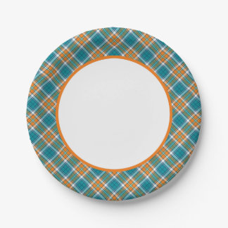 Turquoise and Orange Sporty Plaid Paper Plates