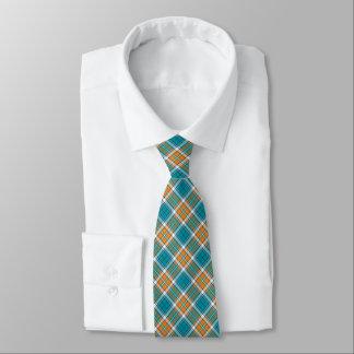 Turquoise and Orange Sporty Plaid Tie