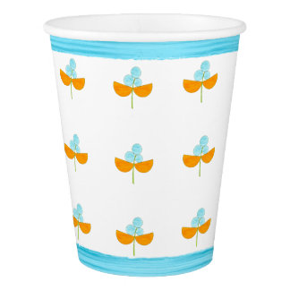 Turquoise and orange watercolor flowers paper cup