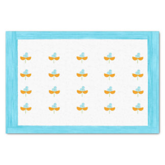 Turquoise and orange watercolor flowers tissue paper
