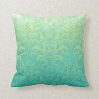 Turquoise and Pale Yellow Damask Cushion