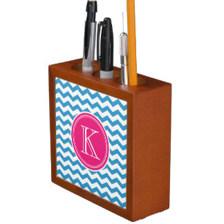 Turquoise and Pink Chevron Custom Monogram Pencil/Pen Holder