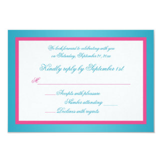 Turquoise and Pink Damask Reply Card 9 Cm X 13 Cm Invitation Card