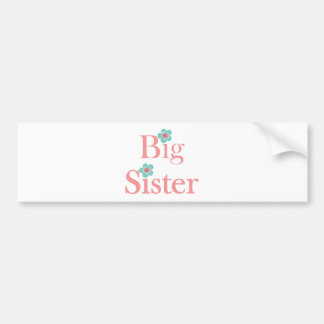 Turquoise and Pink Flower Big Sister Bumper Sticker