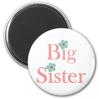 Turquoise and Pink Flower Big Sister Magnets