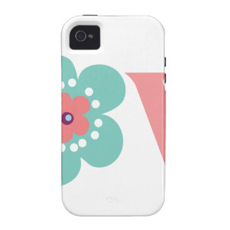 Turquoise and Pink Flower Love Case-Mate iPhone 4 Cases