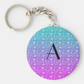 Turquoise and pink hearts monogram keychains