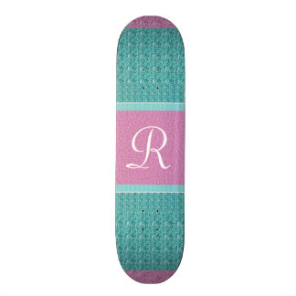 Turquoise and Pink (Letter R) Monogram Custom Skate Board