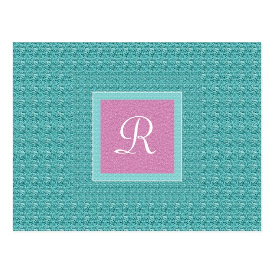 Turquoise and Pink Monogram Postcard