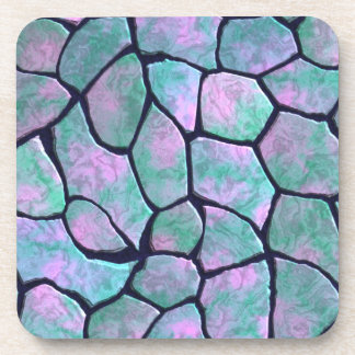 Turquoise and pink mosaic stones seamless pattern coaster