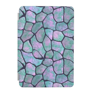 Turquoise and pink mosaic stones seamless pattern iPad mini cover