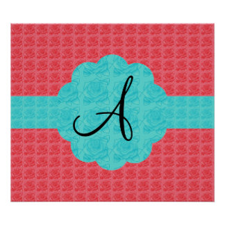 Turquoise and pink roses monogram posters