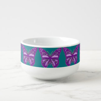Turquoise and Purple Butterfly Jumbo Soup Cup Soup Bowl With Handle