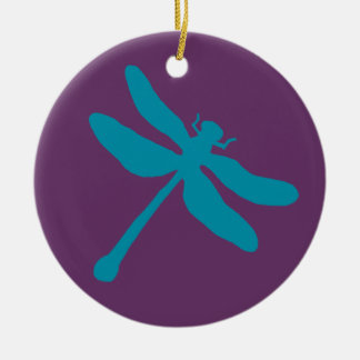 Turquoise and Purple Dragonfly Christmas Ornament
