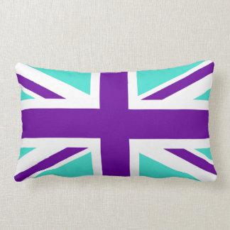 Turquoise and Purple Union Jack Lumbar Cushion