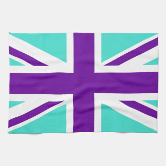 Turquoise and Purple Union Jack Tea Towel