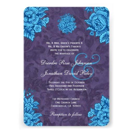 Wedding Invitations Turquoise: Purple And Turquoise Wedding Invitations, 500 Purple And