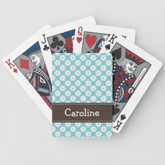 Turquoise and Red Daisy Bicycle Playing Cards