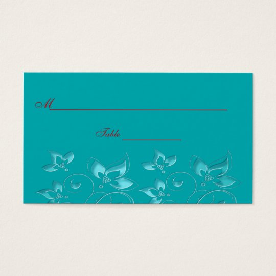 Turquoise and Red Floral Place Cards