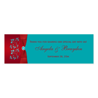 Turquoise and Red Floral Wedding Favor Tag Business Cards