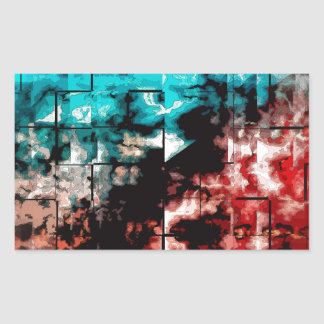 Turquoise And Red Mosaic Tiling Rectangle Stickers