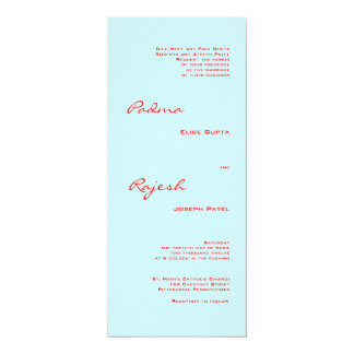 Turquoise and Red Paisley Indian Wedding 10 Cm X 24 Cm Invitation Card