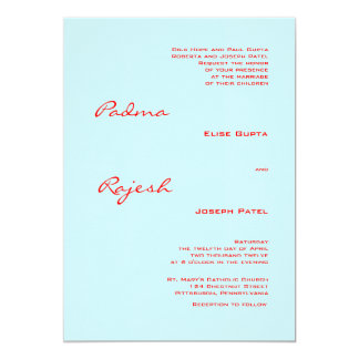 Turquoise and Red Paisley Indian Wedding 13 Cm X 18 Cm Invitation Card