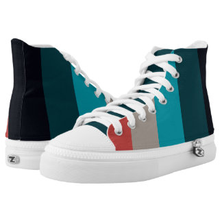Turquoise and Red Stripes Printed Shoes