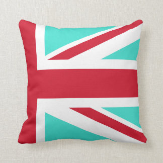 Turquoise and Red Union Jack Half Cushion