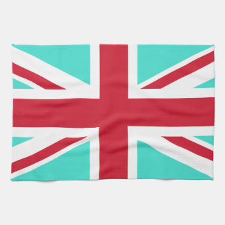 Turquoise and Red Union Jack Tea Towel