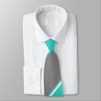 Turquoise and Silver-Colored Tie