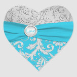 Turquoise and Silver Damask Heart Shaped Sticker