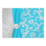 Turquoise and Silver Damask Quinceanera Invitation 13 Cm X 18 Cm Invitation Card