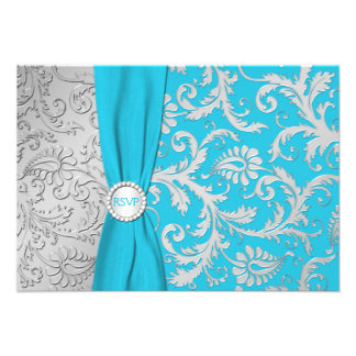 Turquoise and Silver Damask RSVP Card Personalized Invitations