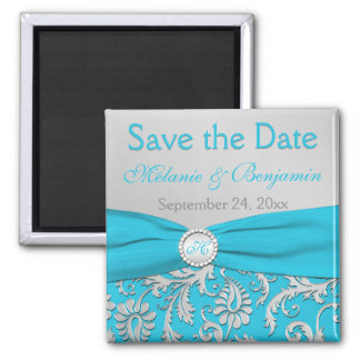 Turquoise and Silver Damask Save the Date Magnet