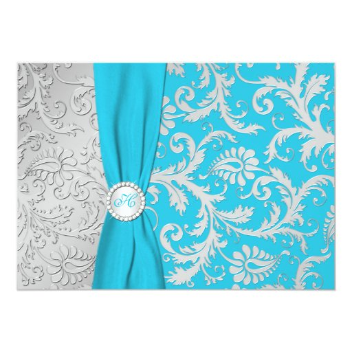 Turquoise and Silver Damask Wedding Invitation 13 Cm X 18 Cm Invitation Card