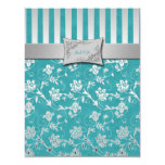 Turquoise and Silver Floral Vine RSVP Card Personalized Announcement
