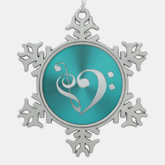 Turquoise and Silver Music Clef Heart Snowflake Pewter Christmas Ornament