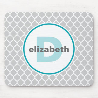 Turquoise and Silver Quatrefoil Monogram Mouse Mat